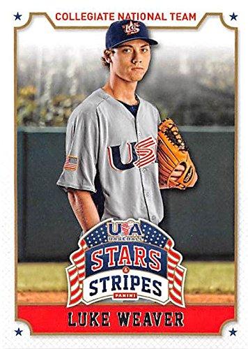 Luke Weaver baseball card (Team USA St Louis Cardinals P) 2015 Stars Stripes #68 (Weaver Stripe)