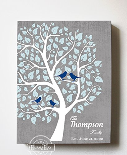 - MuralMax Personalized Couple Family Tree - Stretched Canvas Wall Art - Make Your Wedding & Anniversary Gifts Memorable - Unique Wall Decor - Color - Gray - 30-DAY - Size 8 x 10