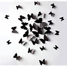 12 Pcs 3D Wall Stickers Butterfly Fridge Magnet for Home Decoration (black)
