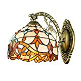 BAYCHEER HL457824 Tiffany Style Colorful Glass Shade Wall Sconce Lighting Vintage Wall Sconce Lamp Fixture One Light Dragonfly Night Light