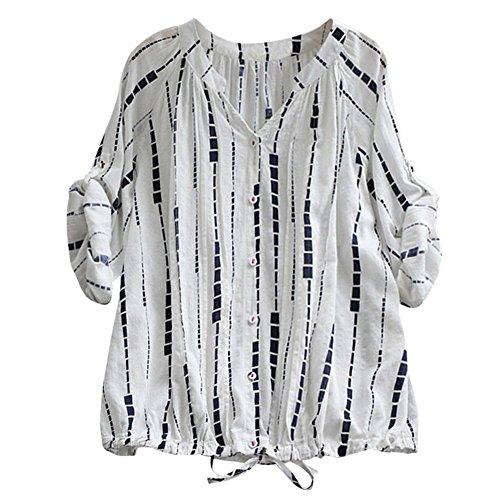 Kobay Camicetta Scozzesi Con Arrotolata In Maniche Bianco4 Donna Da Quadri Flanella Camicie Corte A gwZSpr8gq