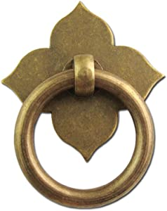 """4 Pcs Bronze Drawer Ring Pulls Vintage Decorative Handles Antique Single Hole Knobs for Furniture Cabinet Cupboard Dresser Wooden Case Box (Disk Length:1-1/4"""", Ring Dia:1-3/8"""", Height:2"""")"""