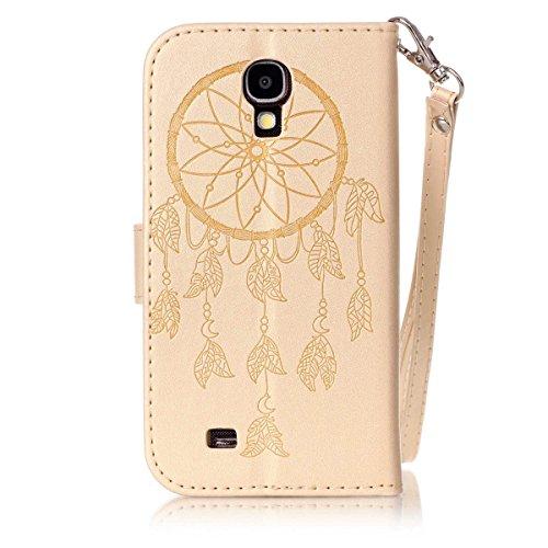 Funda Galaxy S4 mini, Carcasa Plegable para Galaxy S4 mini, Funda de piel Samsung i9190, Lifetrut Sólido Shiny Sparkle libro de estilo funda de cuero con ranura para tarjetas de cierre magnético sopor E206-Dream Catcher in Gold