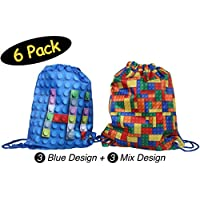 Building Blocks Favor Bags for Lego Party Favors // Bricks Goodie Bags Drawstring Backpack // Party favor boxes // Goodie Bags Kids Birthday Party // Reusable After School Sports // Gift Loot Supplies, 6 Pack of Bags, 2 Designs, 10.5