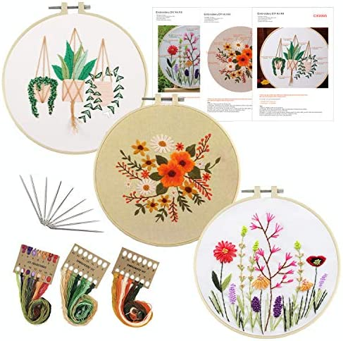 3 Pack Embroidery Kit for BeginnersPattern Plants Flowers Embroidery Starter Kit Full Set Including 3 Embroidery Hoops 3 Stamped Embroider Cloth Instructions Color Threads and Needle Kit
