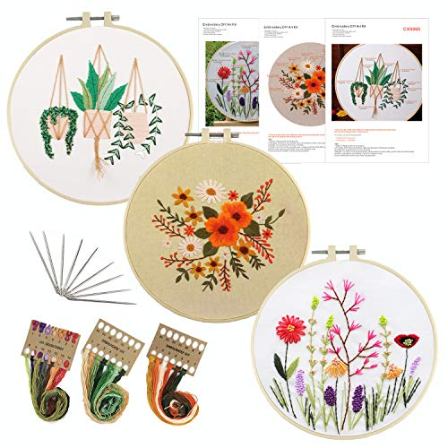 3 Pack Embroidery Kit for Beginners with Pattern Plants Flowers Embroidery Starter Kit Full Set Including 3 Embroidery Hoops, 3 Stamped Embroider Cloth, Instructions, Color Threads and Needle Kit