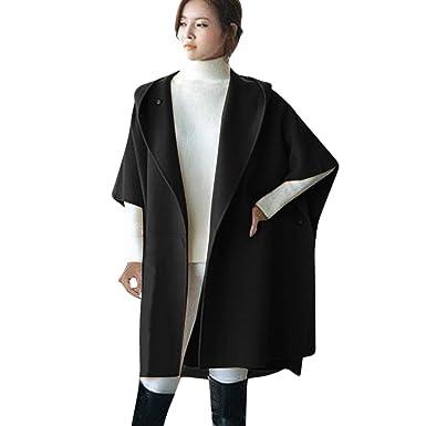 24fcf2ff152 Minisoya Women Loose Batwing Wool Poncho Winter Warm Hooded Coat Jacket  Loose Cloak Cape Parka Outwear