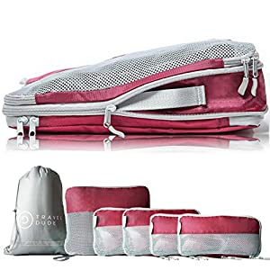 TRAVEL DUDE Compression Packing Cubes for Travel Made from Plastic Bottles | Bag Organiser for Backpacking, Suitcases…