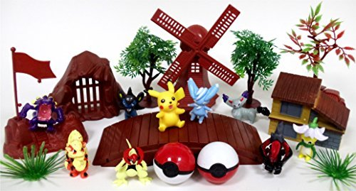 POKEMON 20 Piece Play Set Featuring RANDOM POKEMON Character Figures and Themed (Pokemon Playsets)