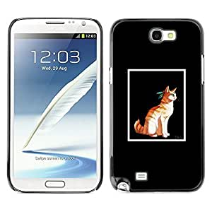good case MOVEWAY Smartphone case cover Back Lovely Dog Picture Image Black Edge Cover For SAMSUNG 7WeeGQemXUF GALAXY NOTE II 2 N7100 - cat frame minimalist cartoon native