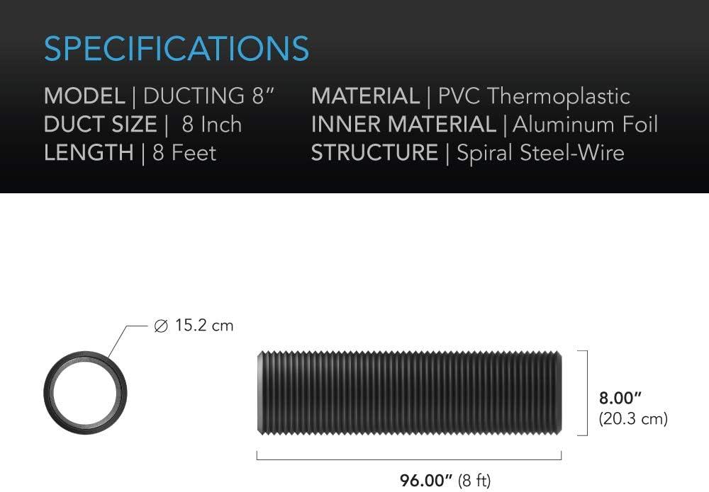 AC Infinity conducto de Aluminio Flexible de 8 Pulgadas 8 pies de Largo para calefacci/ón de ventilaci/ón y Escape Resistente protecci/ón de Cuatro Capas
