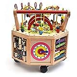 Meen Baby Walker, Multi-Function Anti-Rollover Baby Wooden Eight-Sided Trolley Toy Walker