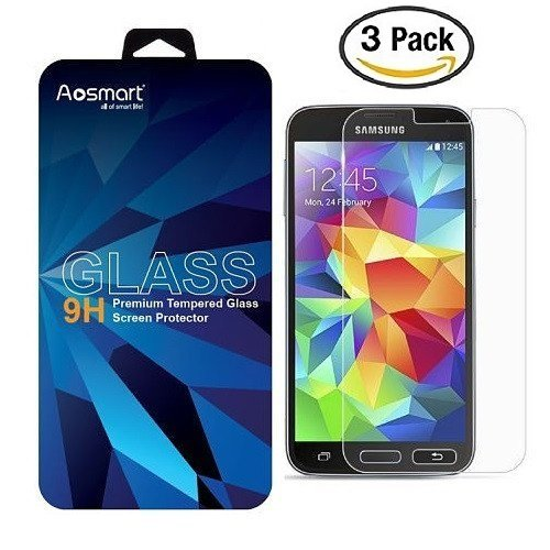 tector Tempered Glass [3 Pack], Aosmart Screen Protector for Samsung Galaxy S5 ()