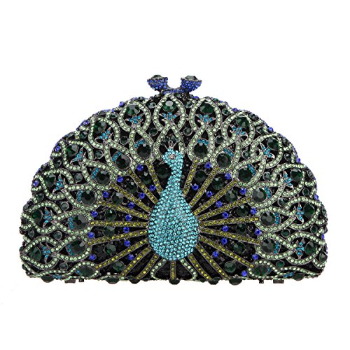 Crystal Glitter Girls Peacock Dark Bonjanvye Green For Clutch Evening Black Bag nxOfOXS