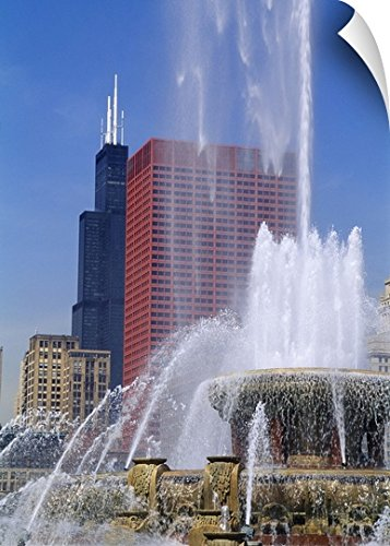 Canvas On Demand Wall Peel Wall Art Print entitled Fountain in a city, Buckingham Fountain, Chicago, Illinois - Chicago Tower Plaza Water