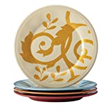Rachael Ray Dinnerware Gold Scroll 4-Piece Round Appetizer Plate Set, Assorted