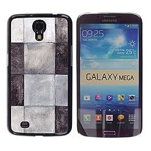 TopCaseStore / la caja del caucho duro de la cubierta de protección de la piel - Tiles Black White Grey Pattern Clean - Samsung Galaxy Mega 6.3 I9200 SGH-i527