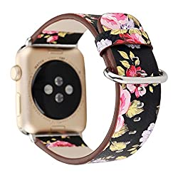 Sport Band For Apple Watch 42mm, Gotd Floral Leather Strap Replacement Watch Band For Apple Watch 42mm Series 3, Series 2, Series 1 (Small, Gift E)