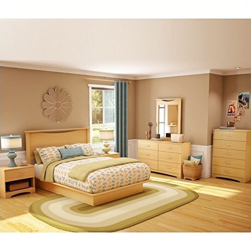 South Shore Copley Wood Panel Headboard 4 Piece Bedroom Set in Natural Maple ()