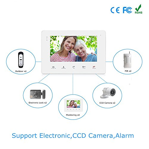 Jeatone 7'' LCD Display Video Doorbell Door Phone 1200TVL Security Camera Intercom IP65 Waterproof Rain Cover 1V1