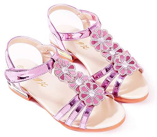 Little Girls Sandals Low Heels Princess Wedding Bridesmaid Pink 12.5 Sandals Knot Bench Flower Party Pink Wedges Sandal for Girls Sequins Platform Toddler Kids 6t Cute Glitter (F Pink 30) (Girls Pink Flower Sandals)