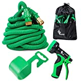 GLOUE 100 FT Expandable Garden Hose-Double Latex Core, Extra Strength Fabric & ON-OFF Valve-9 Functions Sprayer, A Hanger and Other Accessories included-for Gardening, Car Washing or Pet Cleaning
