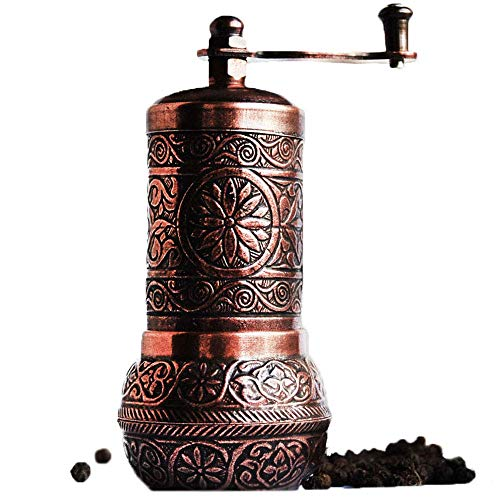"Bazaar Anatolia Pepper Grinder, Spice Grinder, Pepper Mill, Turkish Grinder (4.2"" Antique Copper)"