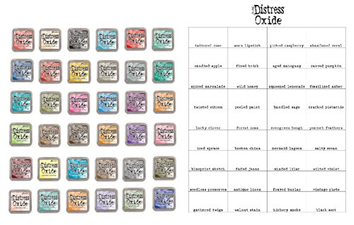 Complete Bundle - Tim Holtz and Ranger Complete Set of 36 Distress Oxide Ink Pads, Bundle includes 36 Distress Oxide Ink pads and Bonus Oxide Ink Color Chart, 37 piece bundle