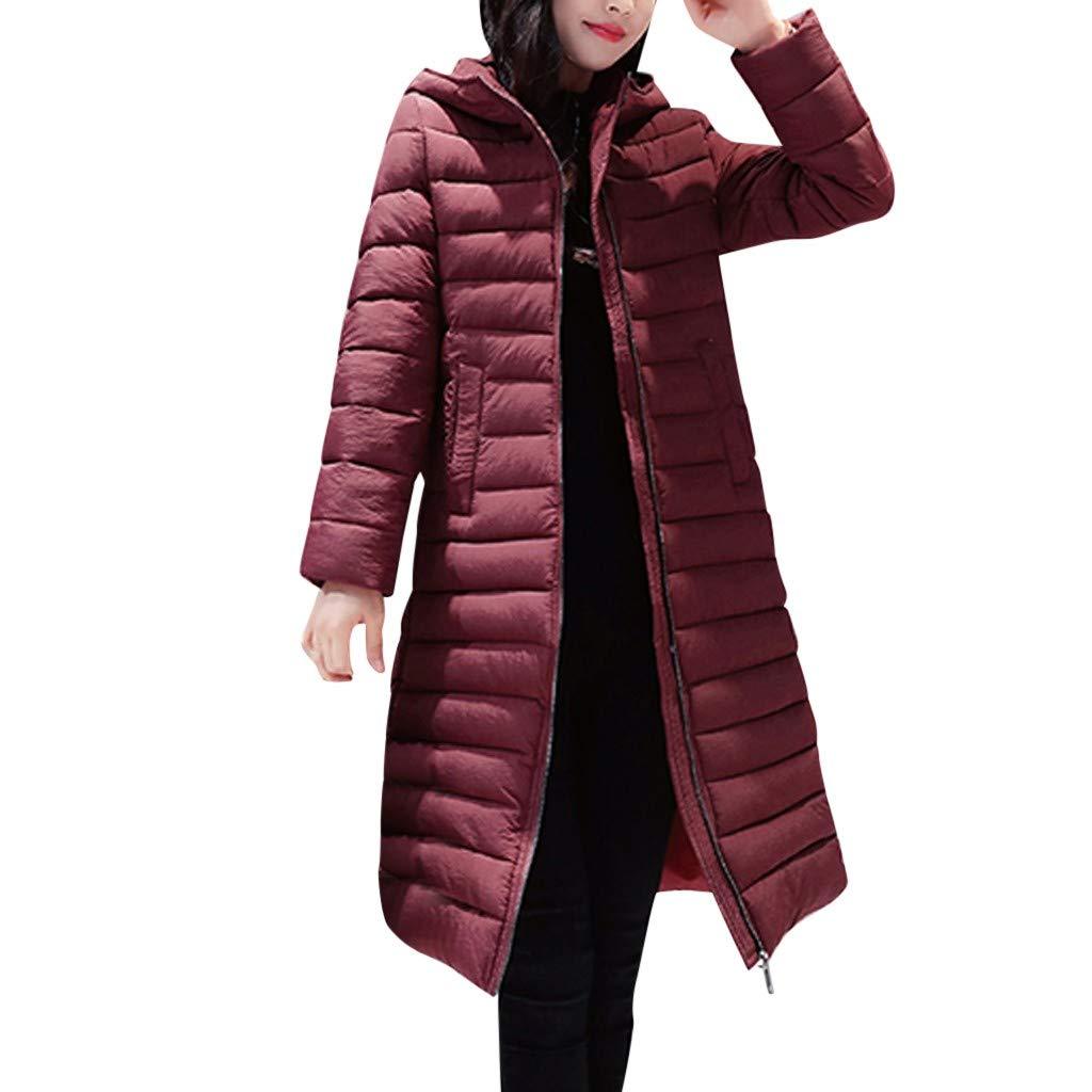 Dainzuy Women's Long Down Coat Winter Cotton Padded Casual Slim Fit Zip Hooded Outwear Down Parka Puffer Jacket Red by Dainzuy Womens Outerwear