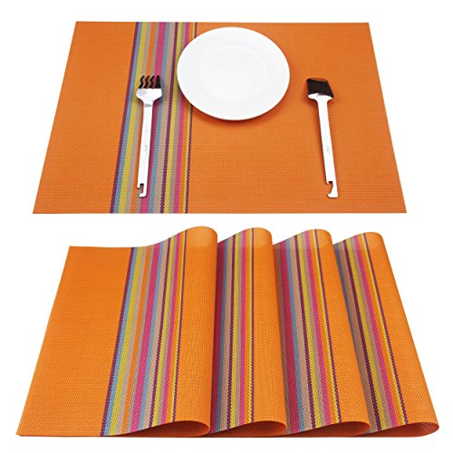 Z.Jian Set Of 4 Placemats, Placemats for Dining Table, Heat-resistant, Stain Resistant PVC Woven Vinyl Table Mats, Kitchen Eat Mats, Orange.