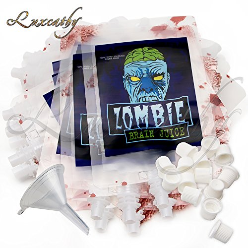 Luxcathy 250ML X 20 Bags Creative Zombie Blood Bag for Party Drinks with Filling Funnel - Thicker and Leakproof Drink Containers, Zombie Party , Black Party and Halloween (Food And Drinks For Halloween Party)