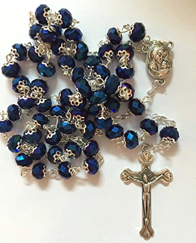 Glass Crystal Beads Rosary with Holy Soil Silver Crucifix (Pink, Red, Green, Purple, Light Blue, Dark Blue, Black, Clear, Gray) (Dark Blue )