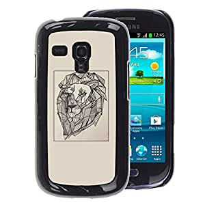 A-type Arte & diseño plástico duro Fundas Cover Cubre Hard Case Cover para Samsung Galaxy S3 MINI 8190 (NOT S3) (Lion Vignette Artist Art Painting Drawing)