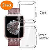 all around protective case - [2Pack] Lelong for Apple Watch Screen Protector and Case 38mm, One Soft TPU all-around Clear Cover and One Protective Bumper Case Both for Apple Watch Series 3, Series 2
