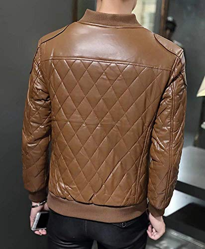 Brands Windbreaker Pu Slim Khaki Men's Down Biker Leather Fit BOLAWOO Fur Jacket Padded Yellow Winter Autumn Coat Outerwear Quilted Fashion Warm Zippered fCSxO4qw