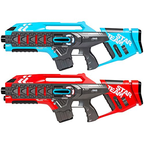 (Best Choice Products Set of 2 Kids Interactive Infrared Rifle Laser Tag Toy Blaster Guns w/ Anti-Cheat Function, Extra Lives, Life Tracker, Backwards Compatible - Red/Blue)