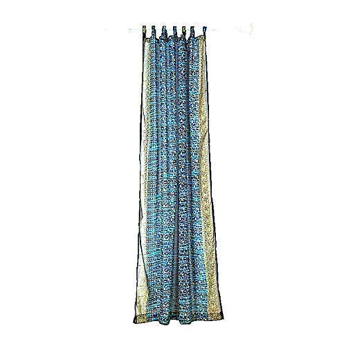 BLUE CURTAIN Window Treatment Draperies Boho Curtains over 20 colors Sari panel 96 inch for bedroom living room dining room kids yoga studio canopy tent W GIFT bag, Navy and Turquoise accents ()