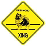 Keeshond Xing caution Crossing Sign dog Gift
