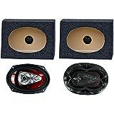 2) Boss CH6950 6x9 5-Way 600W Car Speakers + 2) QTW6X9 Angled 6x9 Speaker Box