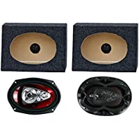 2) Boss CH6950 6x9 5-Way 600W Car Speakers + 2) QTW6X9 Angled 6x9 Speaker Box