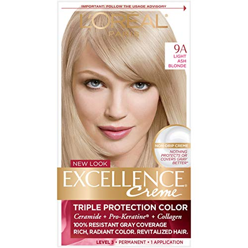 L'Oréal Paris Excellence Créme Permanent Hair Color, 9A Light Ash Blonde, 1 kit 100% Gray Coverage Hair Dye