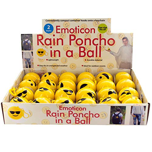 Dollaritem 614726 Wholesale Emoticon Rain Poncho in A Ball Countertop Display X ()
