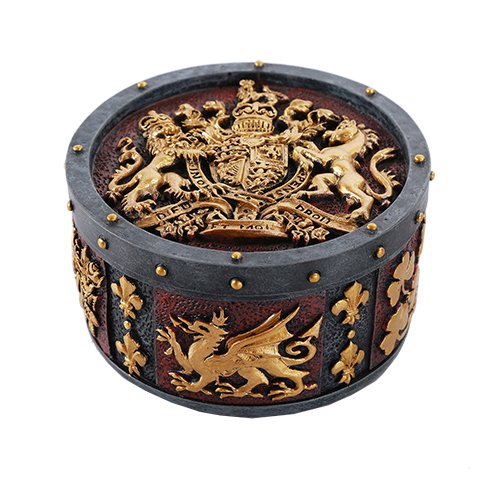 - Pacific Giftware Medieval Times Heraldry Royal Coat of Arms Gold Accent Trinket Box Collectible