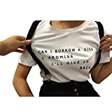 YITAN Letter Print Short sleeve O Neck Women T Shirt Top White Medium