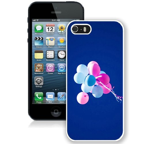 Coque,Fashion Coque iphone 5S Hd Balloons Blue Sky Pink blanc Screen Cover Case Cover Fashion and Hot Sale Design