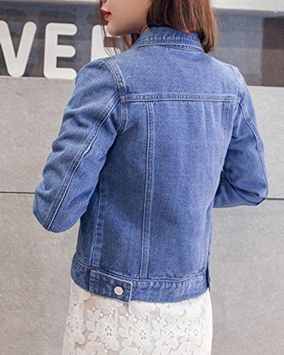 Court Longue Femme Bleu Jeans Veste Veste Denim Courte Manteau Manche Veste En YwnOn8H