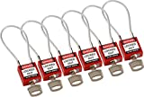 Brady 146128 Compact Cable Padlocks, 5-Pin Cylinder, 4.2'' Shackle Clearance, Keyed Alike, 1.31'' Height, 1.25'' Wide, 0.56'' Length, Red