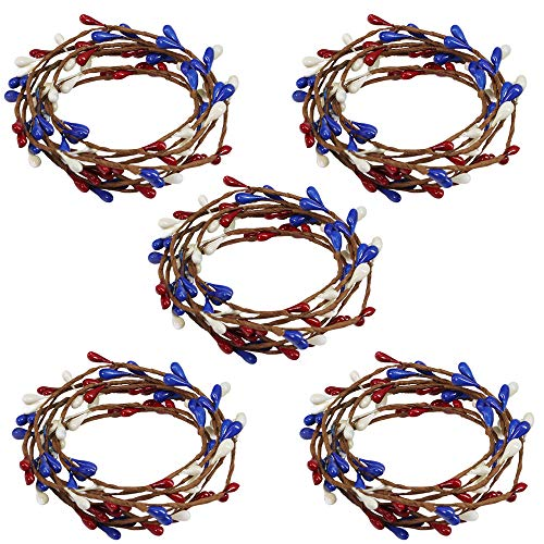 BESTTOYHOME 5 Pack 5.9' Long Americana Pip Berry Rope Garlands Artificial Single-Ply Pip Berry Strings in Red Blue Cream for 4th of July Independence Day Memorial Day Patriotic Decoration