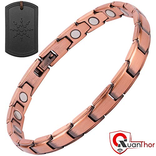 Copper Magnetic Therapy Bracelet + Bonus EMF Protection Tourmaline Pendant for Arthritis Pain Relief with 18 High Powered Magnets | Copper Magnetic Bracelet for Effective Joint Pain Relief ()