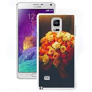 Fashionable Custom Designed Samsung Galaxy Note 4 N910A N910T N910P N910V N910R4 Phone Case With Valentines Gift Idea Roses Bouquet Romantic_White Phone Case